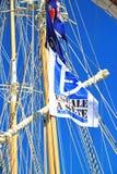 Stopover in Sete – Maritime Traditions Festival. Sete, France - March 26, 2016: Signboard `Stopover in Sete` - Maritime Traditions Festival from the 22 to 28 Royalty Free Stock Photo