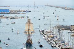Stopover in Sete. SETE, FRANCE - March 28, 2016: plenty of ships during `Stopover in Sete` - Maritime Traditions Festival from the 22 to 28 march 2016 In Sete royalty free stock photography