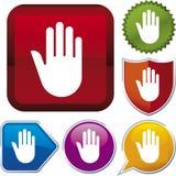 stopp för handsymbolsserie Fotografering för Bildbyråer