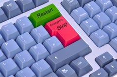 stopp för omstart för datornödlägetangentbord Arkivbild