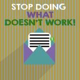 Stopp för ordhandstiltext som gör vilket Doesn t inte arbete Affärsidéen för upptaget betyder inte alltid att vara produktiv royaltyfri illustrationer