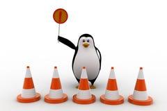 stopp för pingvin 3d från att skriva in och att rymma stoppteckenbegrepp Arkivbilder