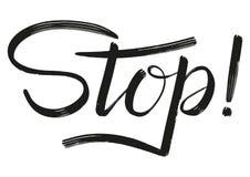 Stopp! Torr borstehandbokstäver vektor illustrationer