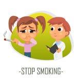 Stoppa att röka medicinskt begrepp också vektor för coreldrawillustration royaltyfri illustrationer