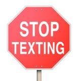 Stoppa att smsa röd körning för text för vägmärkevarningsfara Fotografering för Bildbyråer