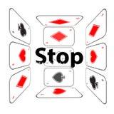 Stoppa att spela böjelse isolerad white för begrepp fara vektor illustrationer