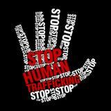 Stoppa den mänskliga människohandellogomallen Arkivbild
