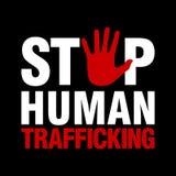 Stoppa den mänskliga människohandellogomallen arkivbilder
