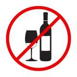 Stoppa den röda runda allsången för alkohol stock illustrationer