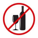 Stoppa den röda runda synden för alkohol stock illustrationer
