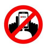 Stoppa den vertikala videoen Det förbjudas till den rekord- videoen Arkivbild