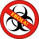 Stoppa det Ebola tecknet med Bio farasymbol och text Royaltyfri Foto