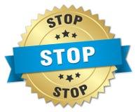 stoppa det guld- emblemet 3d Royaltyfri Foto