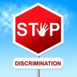 Stoppa diskriminering indikerar varningstecknet och snedhet Arkivbild