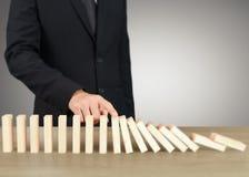 Stoppa dominobrickabegrepp Fotografering för Bildbyråer