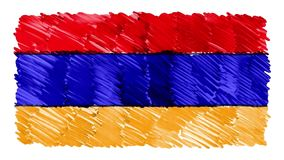Stoppa för den Armenien för rörelse markören drog videoen för symbolet för bakgrund för animeringen för tecknade filmen flaggan n arkivfilmer