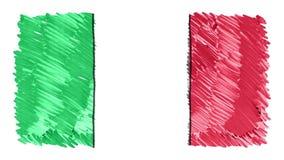 Stoppa för den ITALIEN för rörelse markören drog videoen för symbolet för bakgrund för animeringen för tecknade filmen flaggan ny stock video