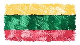 Stoppa för den Litauen för rörelse markören drog symbolet för bakgrund för animeringen för tecknade filmen flaggan nya kvalitets- stock video