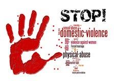 Stoppa familjevåld mot kvinnor och flickor stock illustrationer