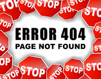 Stoppa fel 404 Arkivfoto