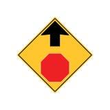 STOPPA FRAMÅT vägmärkevarning stock illustrationer