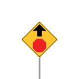 STOPPA FRAMÅT vägmärkevarning royaltyfri illustrationer