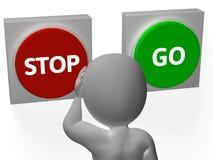 Stoppa går knappshowen som stoppar eller startar Arkivbilder