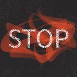 Stoppa grungetecknet stock illustrationer