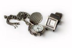 Stoppa i fickan och armbandsur Royaltyfria Bilder