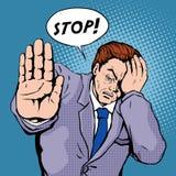 Stoppa illustrationen för popkonst stock illustrationer