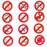Stoppa infektionen, en uppsättning av vektorsymboler av olika mikro-organismer, och bakterier, virus, torkas ut, hygien vektor illustrationer