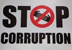 Stoppa korruptionsymbolet Arkivfoton