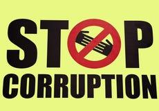 Stoppa korruptionsymbolet Fotografering för Bildbyråer