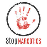 Stoppa narkotiskt preparattecknet Royaltyfri Bild