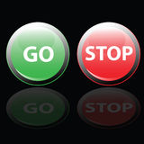 Stoppa och gå knappvektorillustrationen Fotografering för Bildbyråer