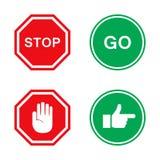 Stoppa och gå tecken in som är rött och som är grönt med handen stock illustrationer