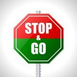 Stoppa och gå tecknet för racerbilar Arkivfoto