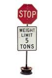 Stoppa och 5 Ton Weight Limit Dirty Sign. Royaltyfri Foto