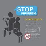 Stoppa Phubbing, infographics. Arkivfoton