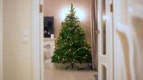Stoppa rörelse gradvist församlat är en konstgjord julgran, där girlandbelysningljus i ett mörkt rum Arkivfoton