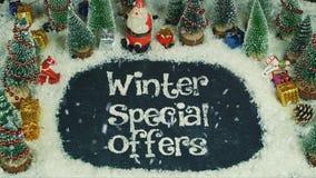 Stoppa rörelseanimeringen av speciala erbjudanden för vintern royaltyfri bild