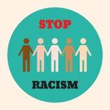 Stoppa rasismsymbolsaffischen royaltyfri illustrationer