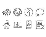 Stoppa samtal, online-shopping och diskaretidmätaresymboler vektor illustrationer