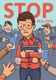 Stoppa skolapennalismaffischen Telefoner och fingrar som pekar på skolpojken som omges, genom att skratta översittare Kulör lägen Arkivfoton