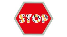 Stoppa stoppet för text för teckendiagram 001 - röd bakgrund - det färgrika vektor illustrationer