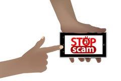 Stoppa svindeln bedrägeri och bedrägeri smart telefon stock illustrationer