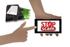 Stoppa svindeln bedrägeri och bedrägeri smart telefon vektor illustrationer