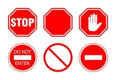 Stoppa teckenuppsättningen Arkivfoto