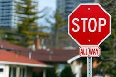Stoppa tecknet royaltyfria bilder