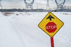 Stoppa tecknet på en snövesslaslinga Arkivbild